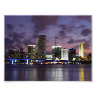 Poster del horizonte de la tarde de Miami Póster