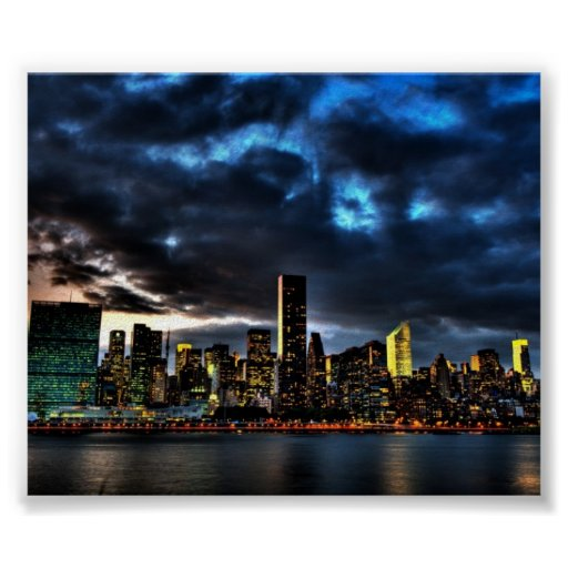 Poster del horizonte de la tarde de New York City