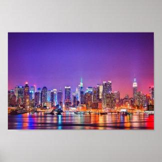 Poster del horizonte de New York City (color)