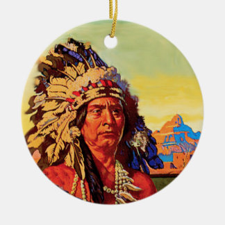 Poster del indio del vintage adorno redondo de cerámica