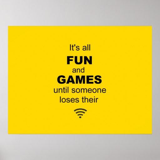 Poster del Internet de WiFi que pierde - amarillo