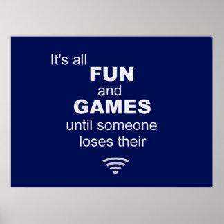 Poster del Internet de WiFi que pierde - azul