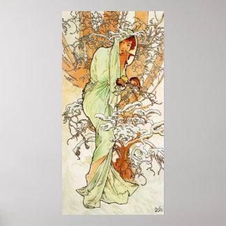 Poster del invierno de Alpohnse Mucha
