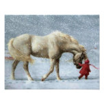 Poster del invierno del caballo y del chica