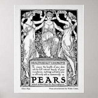 Poster del jabón de las peras del vintage