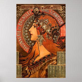 Poster del jabón de las señoras de Nouveau del art