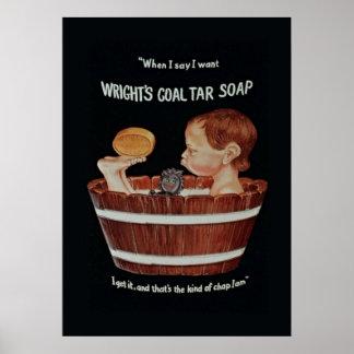 Poster del jabón del alquitrán de carbón de