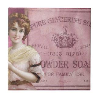 Poster del jabón del vintage azulejo cuadrado pequeño