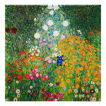 Poster del jardín de flores de Gustavo Klimt