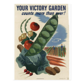 Poster del jardín de victoria, guerra mundial 2 postales