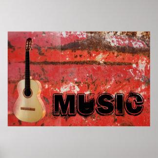Poster del jazz de la roca de la guitarra de la ro