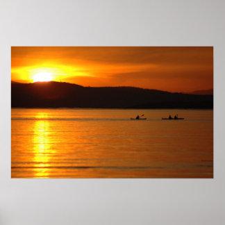 Poster del kajak de la puesta del sol