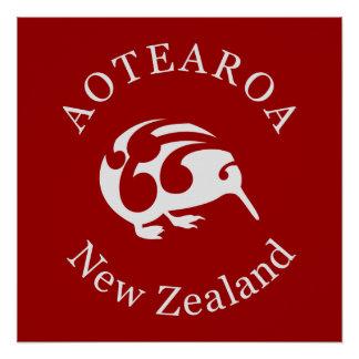POSTER del KIWI de Aotearoa Nueva Zelanda Perfect Poster