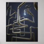 Poster del laberinto de la tubería del agua