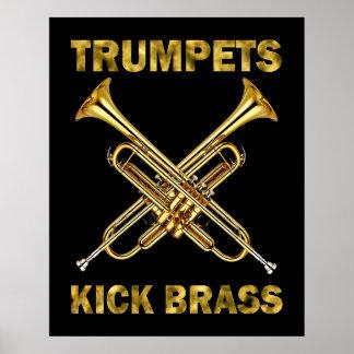 Poster del latón del retroceso de las trompetas