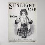 Poster del lavadero del jabón de la luz del sol