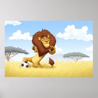 Poster del león del fútbol