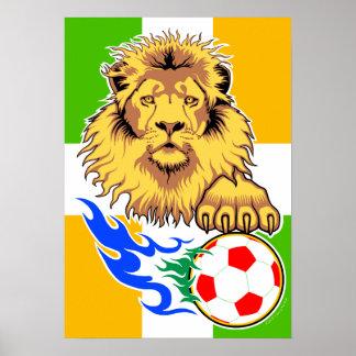 Poster del león del fútbol del d Ivoire del irland