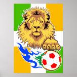 Poster del león del fútbol del d'Ivoire del irland