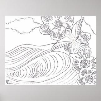 Poster del libro de colorear de la isla del colibr