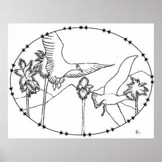 Poster del libro de colorear de Skys de la gaviota