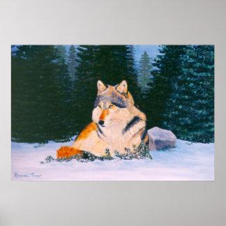Poster del lobo de madera