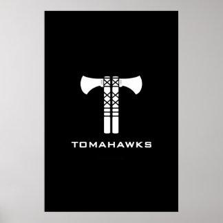 Poster del logotipo de las hachas de guerra