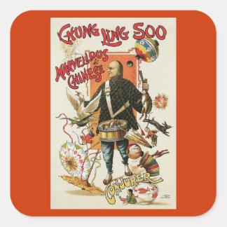 Poster del mago de Chungkin Ling Soo del vintage Calcomanía Cuadrada Personalizada