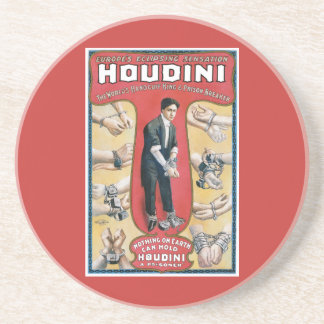 Poster del mago del vintage de Harry Houdini Posavasos Diseño