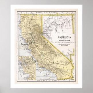 Poster del mapa de California a partir de 1886