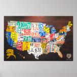 Poster del mapa de la placa de Estados Unidos