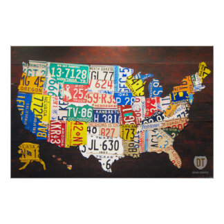 Poster del mapa de la placa de Estados Unidos Póster