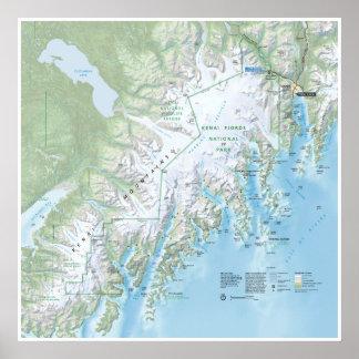 Poster del mapa de los fiordos de Kenai