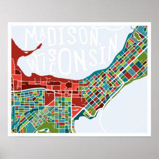 Poster del mapa de Madison, Wisconsin