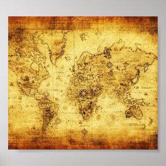 Poster del mapa de Viejo Mundo del vintage