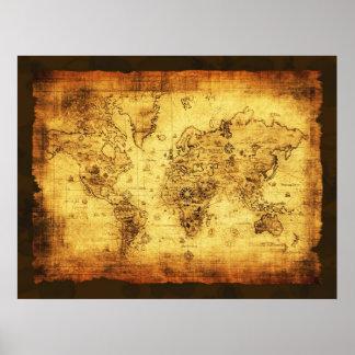 Poster del mapa de Viejo Mundo del vintage de los