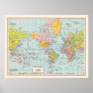 Poster del mapa del mundo del vintage