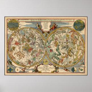 Poster del mapa del mundo del vintage - 1705 plani