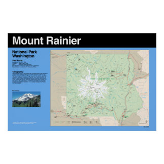 Poster del mapa del parque nacional del Monte Rain