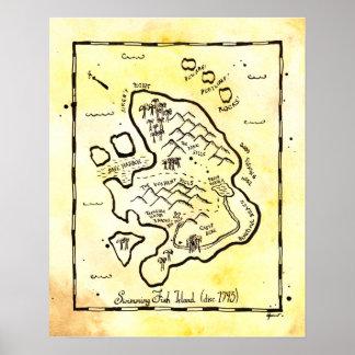 Poster del mapa del tesoro del pirata de la isla d