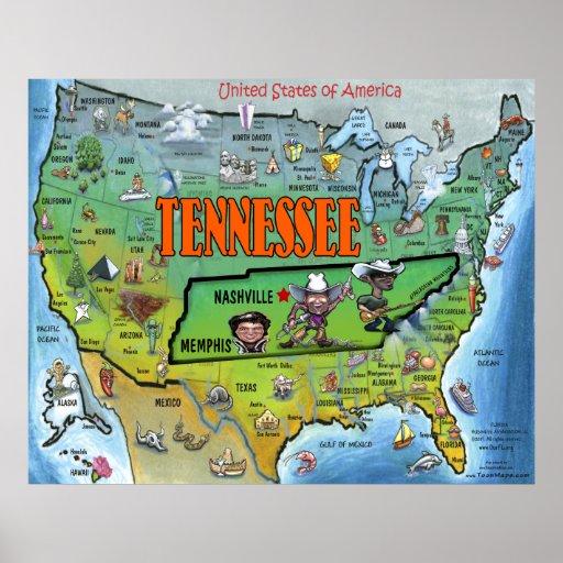 Poster del mapa del TN los E.E.U.U.