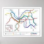 Poster del mapa del tránsito de Pittsburgh