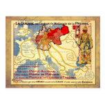 Poster del mapa del vintage WWI de Prusia Postal