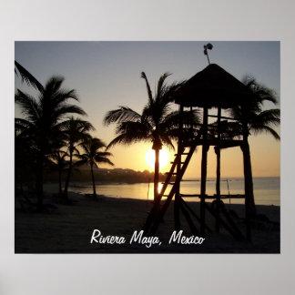 Poster del mar del Caribe de Cancun México del may