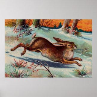 Poster del medio del conejo de diciembre