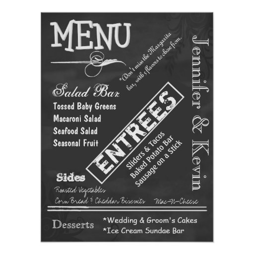 Poster del menú del boda de la mirada de la pizarr