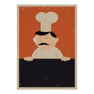 Poster del menú del panadero o del cocinero del di póster