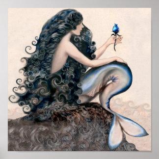 Poster del mito de la fantasía de las sirenas de l póster