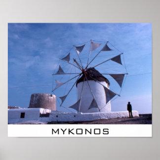 Poster del molino de viento de Mykonos pequeño