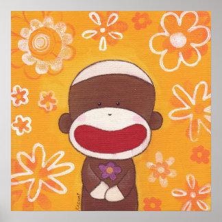 Poster del mono del calcetín de la flor